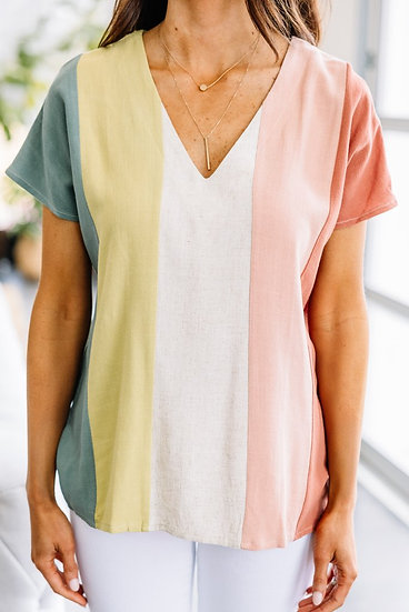 Something To Love Sea Green Colorblock Top