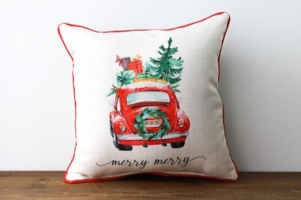 Merry Merry Christmas Car Pillow
