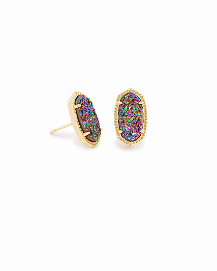 Ellie Gold Stud Earrings In Multicolor Drusy