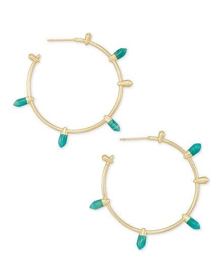 Freida Gold Hoop Earrings In Dark Teal Amazonite