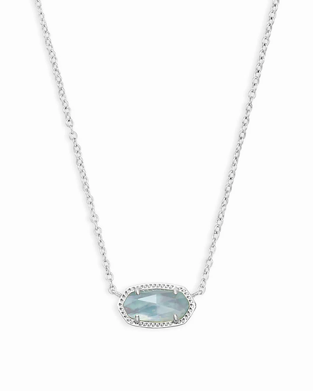 Elisa Silver Pendant Necklace In Light Blue Illusion - MARCH