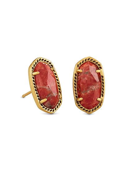 Ellie Vintage Gold Stud Earrings In Burnt Sienna Howlite