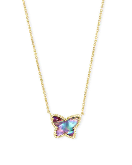 Lillia Butterfly Pendant Necklace In Gold Lilac Abalone