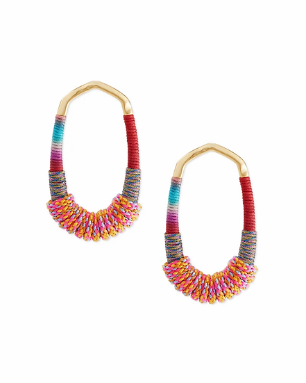 Masie Gold Open Frame Earrings In Coral Mix Paracord