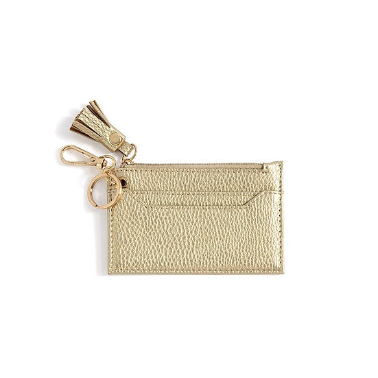 Cece Card Case With Key Chain - Gold