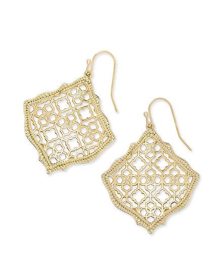 Kirsten Gold Drop Earrings In Gold Filigree Mix