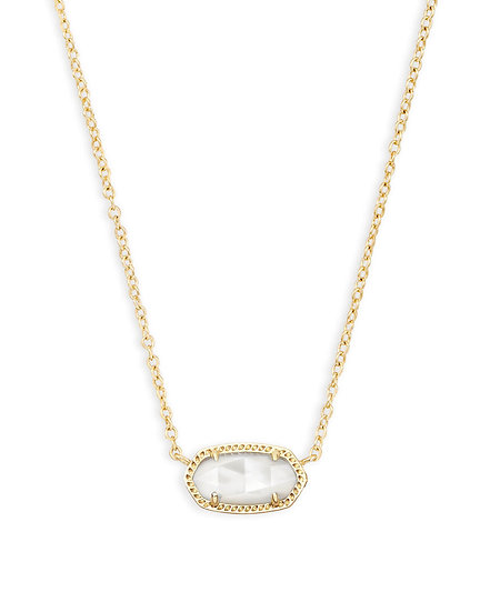 Elisa Gold Pendant Necklace In Ivory Pearl - JUNE