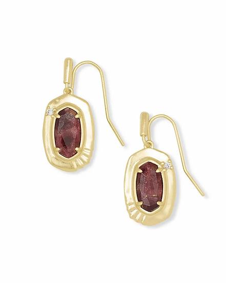 Anna Gold Small Drop Earrings In Bronze Veined Maroon Jade