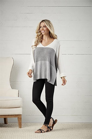 Always Getting Better Grey Colorblock Sweater