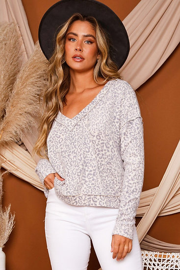 Turn To You Oatmeal Leopard Top