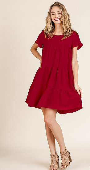 Stay With You Always Tiered Dress - Red