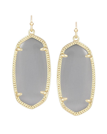 Elle Gold Drop Earrings In Slate Cats Eye