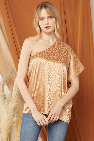 Here For A Good Time Leopard Silk Top - Walnut