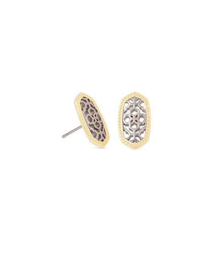 Ellie Gold Stud Earrings In Silver Filigree Mix
