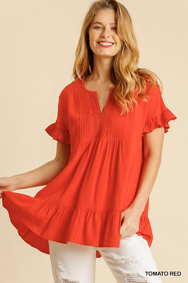 Make Your Life Easy Red V-Neck Top