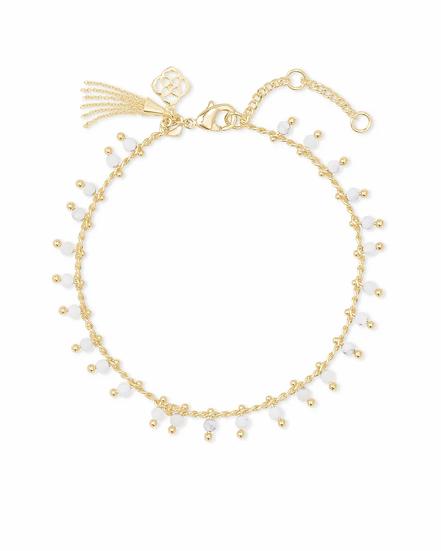 Jenna Gold Delicate Chain Bracelet In White Howlite