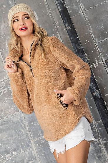 Bold Themes Pullover Jacket - Tan
