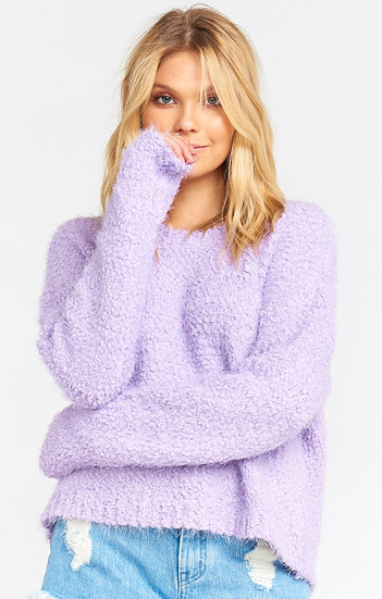 Lilac Cropped Varsity Sweater (Show Me Your Mumu)