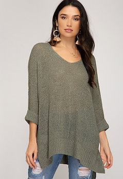 Reasons To Fall Hi Low Knit Sweater - Light Olive