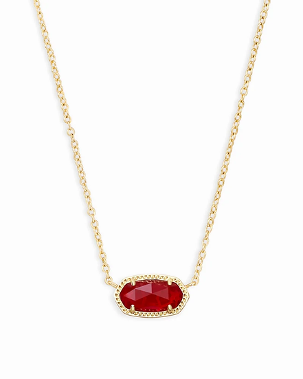 Elisa Gold Pendant Necklace In Ruby Red - JULY