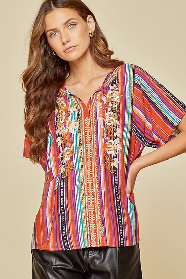 Just A Feeling Multi Aztec Striped Top