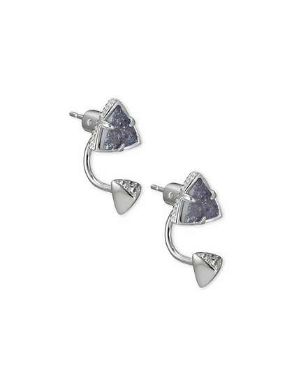 Perry Silver Ear Jacket Earrings In Steel Gray Drusy