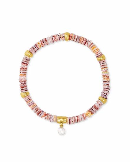 Lila Vintage Gold Stretch Bracelet in Pastel Shells