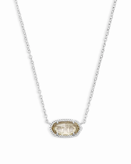 Elisa Silver Pendant Necklace In Clear Crystal - APRIL