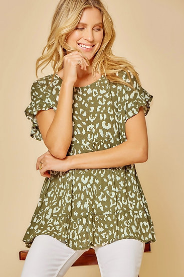 Lose Yourself Olive Leopard Babydoll Top