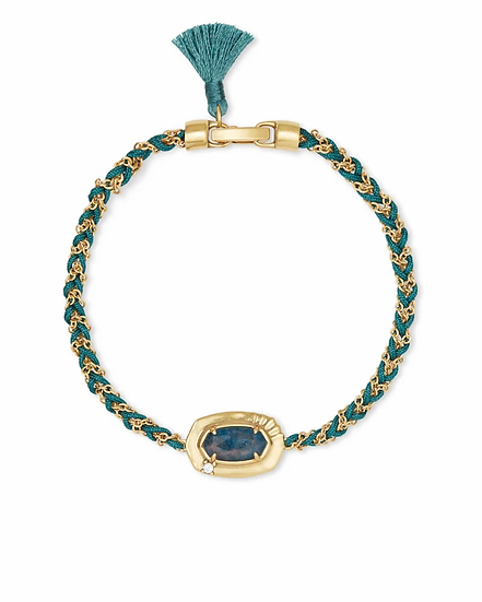 Anna Vintage Gold Friendship Bracelet In Teal Apatite