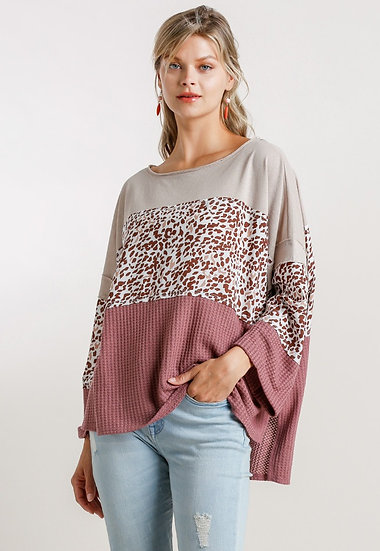While Your Out Waffle Colorblock Top - Berry Mix