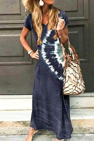 Bring You Home Navy Tie Dye Maxi Dress