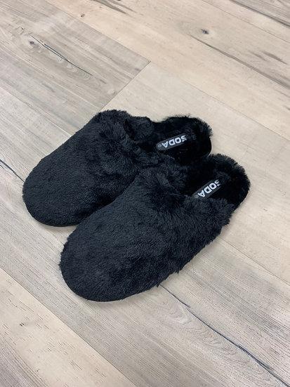 I'm Walking On Air Black Slippers