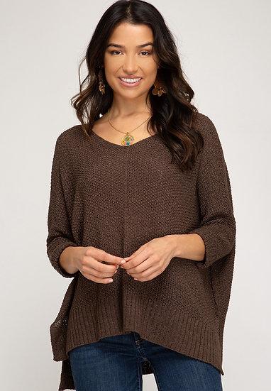 Reasons To Fall Hi Low Knit Sweater - Ash Brown