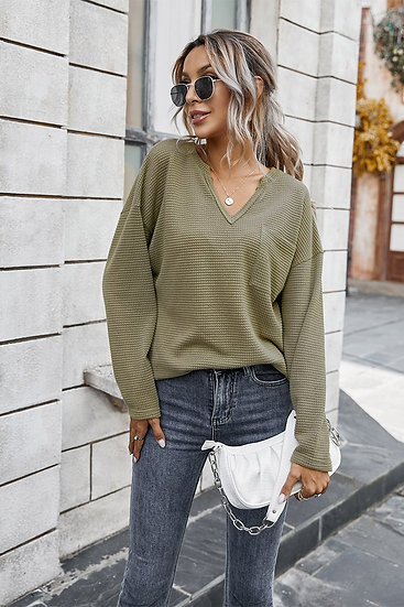 Silent Mode Waffle Knit Top - Olive