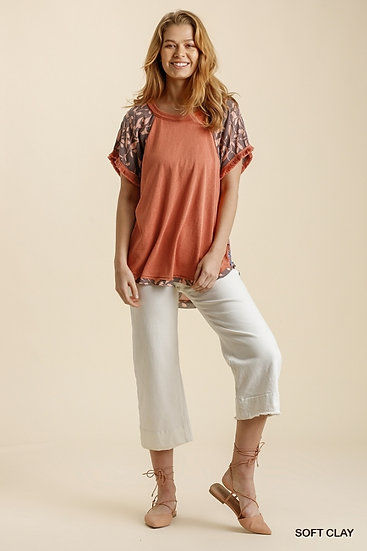 Just A Thought Clay Floral Blouse