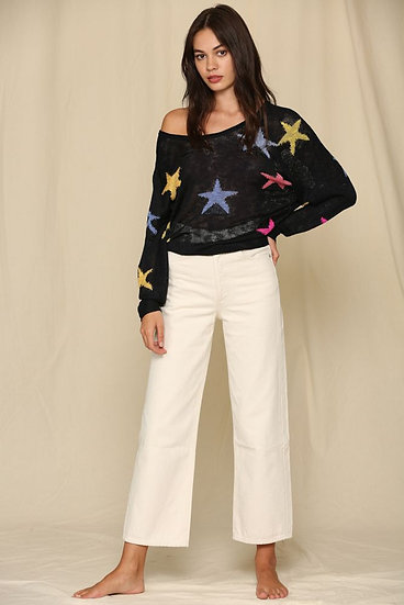 Look At Me Now Lightweight Knit Star Sweater - Black