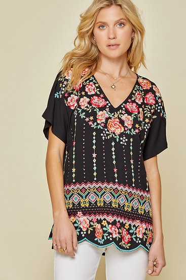 Fields Of Flowers Black Embroidered Top