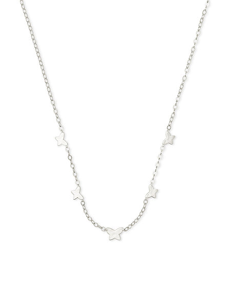 Lillia Butterfly Strand Necklace In Rhod Metal
