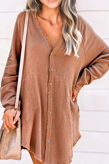 Kennedy Cotton Pocketed Button Down Tunic - Camel