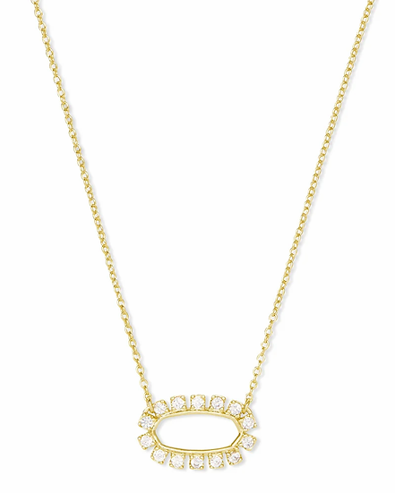 Elisa Open Frame Crystal Pendant Necklace In Gold