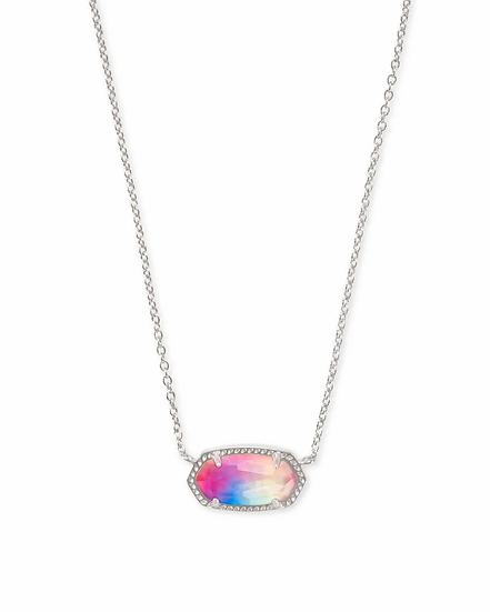 Elisa Silver Pendant Necklace In Watercolor Illusion