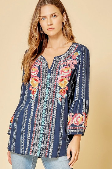 Definitely Dreamy Embroidered Top in Navy
