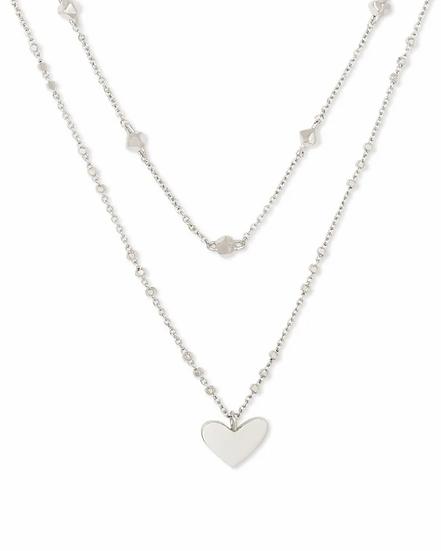 Ari Heart Multi Strand Necklace In Silver