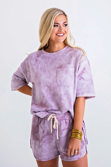 Heat Wave Tie Dye Knit Lounge Set - Mauve (Karlie)