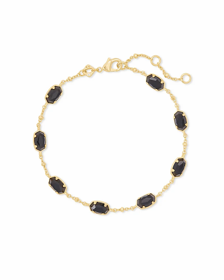Emilie Gold Chain Bracelet In Black Obsidian