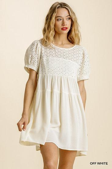 Always Sweet Off White Eyelet Dress