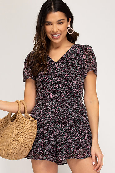 All I Need Black Ditsy Floral Romper