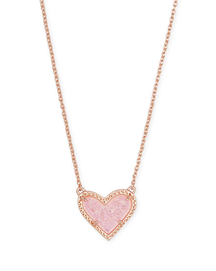 Ari Heart Rose Gold Pendant Necklace In Pink Drusy