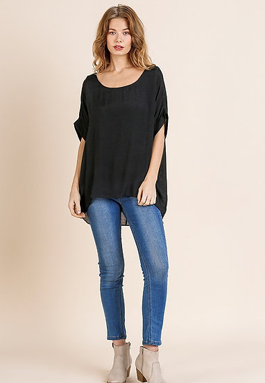 Dolman Sleeve Top with Lining - Black